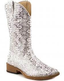 Roper Bling Lace Glitter Faux Leather Cowgirl Boots - Square Toe