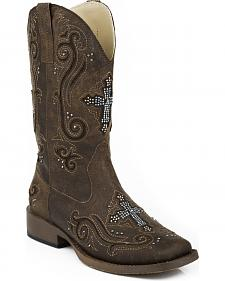 Roper Bling Crystal Cross Faux Leather Cowgirl Boots - Square Toe
