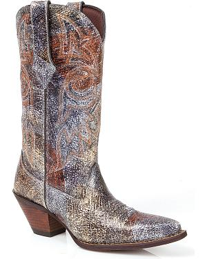 Durango Womens Crush Crackle  & Chrome Cowgirl Boots - Snip Toe