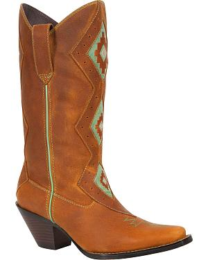 Durango Womens Tribal Western Cowgirl Boots - Square Toe