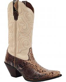 Durango Women's Crush Scalloped Snake Print Cowgirl Boots - Pointed Toe