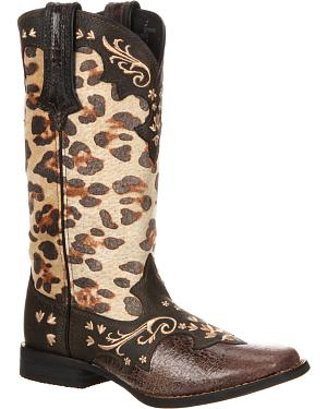 Durango Womens Crush Leopard Print Cowgirl Boots - Square Toe
