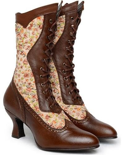 Oak Tree Farms Womens Vows Inlay Kidskin Floral Boots $134.99 AT vintagedancer.com