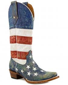 Roper American Flag Distressed Cowgirl Boots - Snip Toe