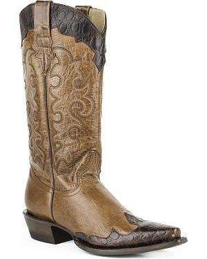 Roper Womens Faux Sea Turtle Wingtip Cowgirl Boots - Snip Toe