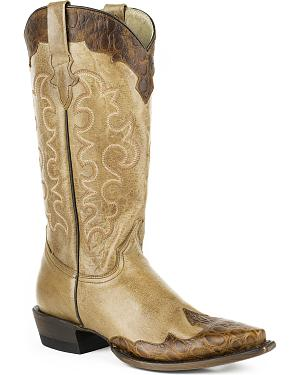 Roper Womens Faux Alligator Wingtip Cowgirl Boots - Snip Toe