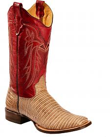 Roper Lizzy Faux Teju Lizard Cowgirl Boots - Square Toe