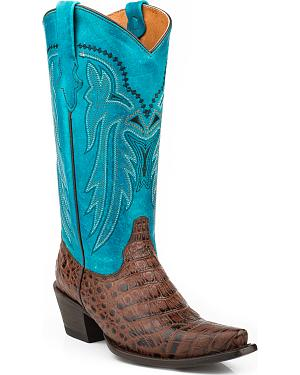 Roper Chloe Faux Croc Belly Cowgirl Boots - Snip Toe