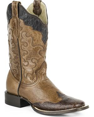 Roper Womens Faux Sea Turtle Wingtip Cowgirl Boots - Square Toe