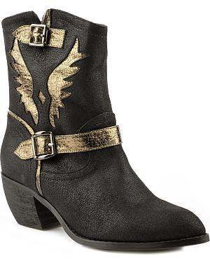 Roper Benatar Metallic Eagle Ankle Short Cowgirl Boots - Pointed Toe