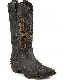 Roper Sky Beaded Eagle Cowgirl Boot - Square Toe