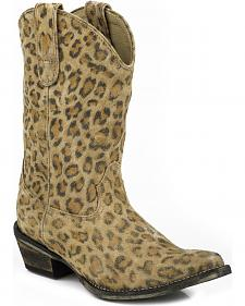 Roper Leopard Print Suede Cowgirl Boots - Snip Toe