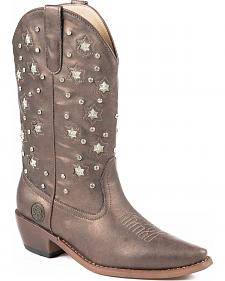 Roper Star Lights Studded Metallic Cowgirl Boots - Snip Toe
