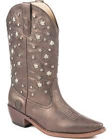 Roper Star Lights Studded Metallic Cowgirl Boots - Snip Toe
