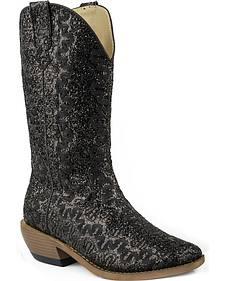 Roper Glitter Swirl Faux Leather Cowgirl Boots - Snip Toe