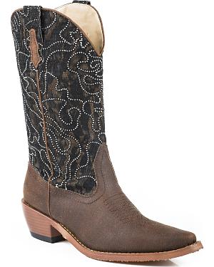Roper Womens Crystal Lace Shaft Boots - Snip Toe