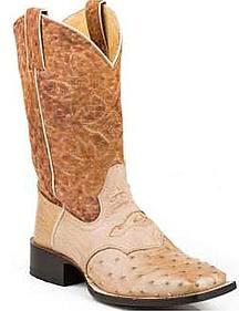 Stetson Raquel Nicotin Ostrich Cowgirl Boots - Square Toe