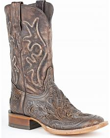Stetson Winona Hand Tooled Distressed Cowgirl Boots - Square Toe