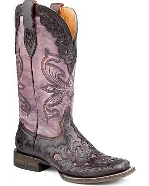 Stetson Madison Hand-Tooled Violet Cowgirl Boots - Square Toe