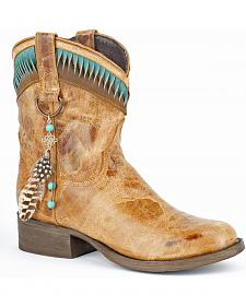 Stetson Kai-ita Twisted Leather Short Cowgirl Boots - Round Toe
