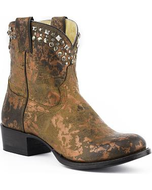 Stetson Arizona Studded Short Cowgirl Boots - Round Toe