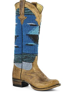 Stetson Womens Tahoe Serape Fabric Cowgirl Boots - Round Toe
