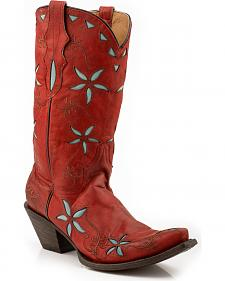 Stetson Blossom Red Cowgirl Boots - Snip Toe