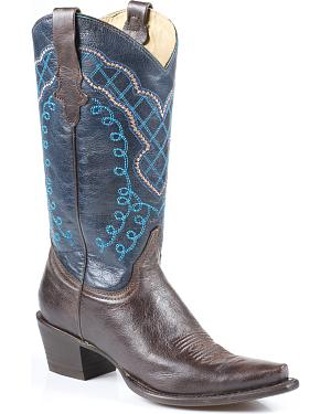 Stetson Fawn Blue Cowgirl Boots - Snip Toe
