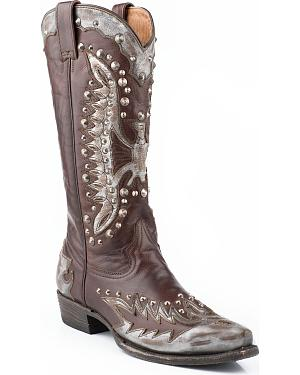 Stetson Eartha Studded Metallic Eagle Cowgirl Boots - Snip Toe