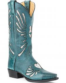 Stetson Blue Sequin Heart Cowgirl Boots - Snip Toe