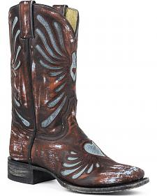 Sterson Heart Turquoise Underlay Cowgirl Boots - Square Toe