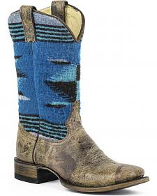 Stetson Roxanne Blue Serape Cowgirl Boots - Square Toe