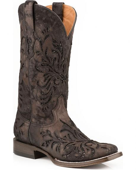 Stetson Kael Metallic Underlay Cowgirl Boots - Square Toe