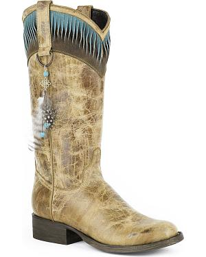 Stetson Kai Feather Cowgirl Boots - Round Toe