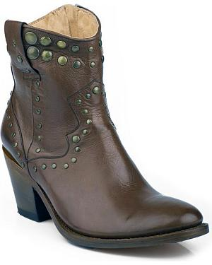 Stetson Chocolate Studded Short Cowgirl Boots - Medium Toe
