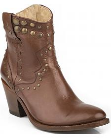 Stetson Tan Studded Short Cowgirl Boots - Round Toe