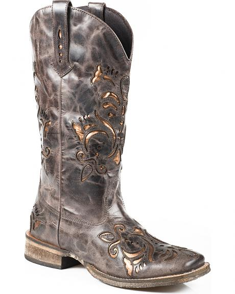 Roper Belle Sanded Metallic Underlay Cowgirl Boots - Square Toe