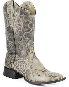 Roper Kat Cheetah Print Cowgirl Boots - Square Toe