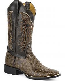 Roper Stamped Faux Leather Cowgirl Boots - Square Toe