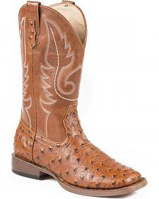 Roper Faux Ostrich Leather Cowgirl Boots - Square Toe