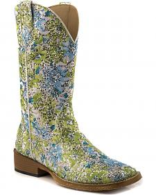 Roper Blue and Green Glitter Swirl Cowgirl Boots - Square Toe
