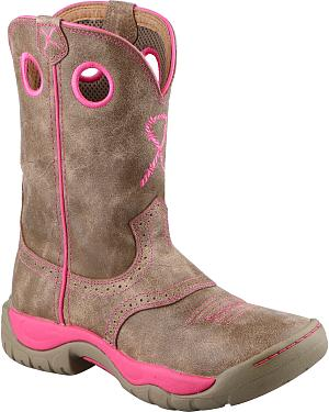 Twisted X Womens Tough Enough to Wear Pink All Around Cowgirl Boots - Round Toe