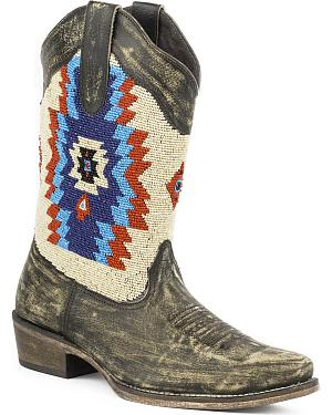 Roper Womens Aztec Beaded Shaft Boot - Snip Toe