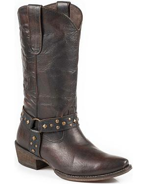 Roper Womens Studded Harness Cowgirl Boots - Snip Toe