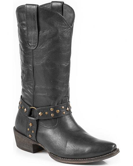 Roper Women's Studded Harness Cowgirl Boots - Snip Toe