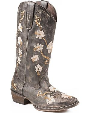 Roper Womens Floral Embroidery Cowgirl Boots - Snip Toe