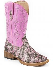Roper Pretty Glitter Camo Cowgirl Boots - Square Toe