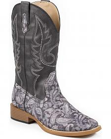 Roper Glittery Paisley Cowgirl Boots - Square Toe