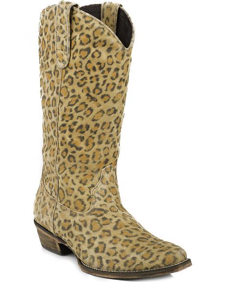 Roper Sanded Suede Leopard Print Cowgirl Boots - Square Toe