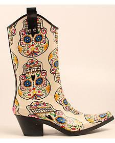 Blazin Roxx Sugar Skull Cowgirl Rain Boots - Snip Toe
